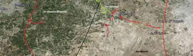 Mapas das áreas de confrontos na Síria