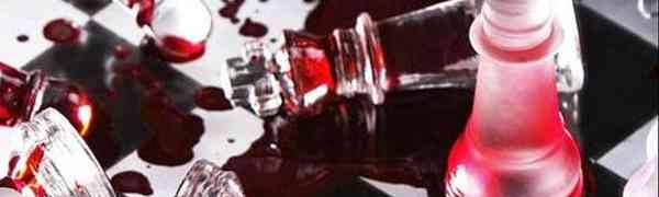 Tabuleiro de xadrez encharcado de sangue