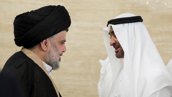Imagem: O príncipe coroado Xeique Mohammed bin Zayed al-Nahayan de Abu Dhabi reúne-se com o líder iraquiano xiita Moqtada al-Sadr em Abu Dhabi, Emirados Árabes Unidos, 13/8/2017. Foto: Emirates News Agency WAM/via REUTERS